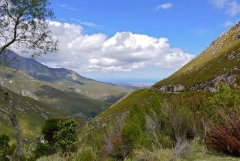 Looking down towards George from the Outeniqua Pass, N12 Road, Garden Route