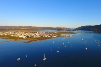 Knysna Lagoon, with Thesen Island on the left and The Heads, Knysna, Garden Route