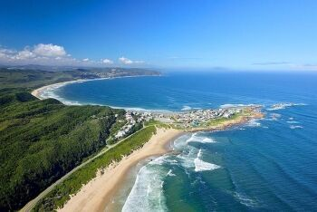 Buffelsbaai from the air with Brenton-on-Sea in the background, Garden Route